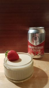 Beer panna cotta - Tyne Bank Strawberries and Cream, with can