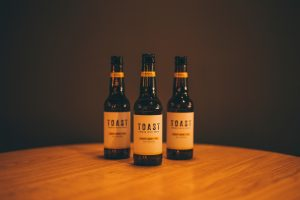 Bottles of Toast Ales lager, made with leftover bread