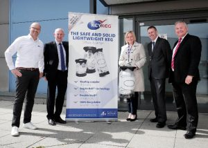 Durham County Councillor Cllr Leanne Kennedy with representatives from Business Durham and Lightweight Containers at the new KeyKeg factory