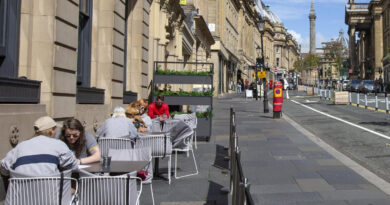 A pavement cafe area on Grey Street, Newcastle